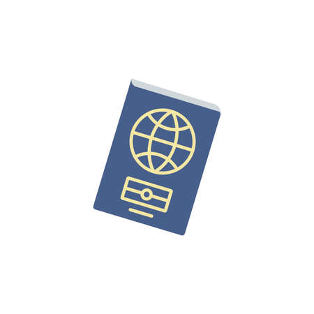 biometric passport color icon vector. Simple sign. Foreign passport icon. Visa, document, arrival. Customs house concept. citizenship, immigration, traveling