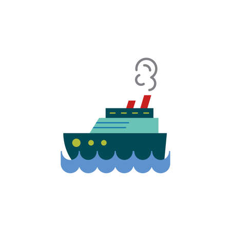 Steamship color, steamboat, Cruise sea ship icon vector. Simple sign.