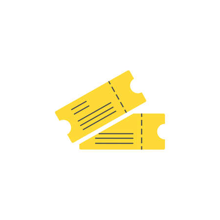 ticket color icon vector. Simple sign, yellow.