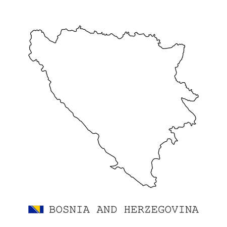 Bosnia and Herzegovina map line, linear thin vector simple outline e and flag. Black on white background