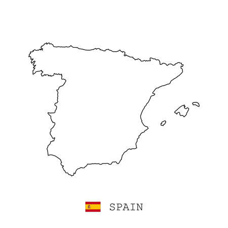 Spain map line, linear thin vector simple outline e and flag. Black on white background