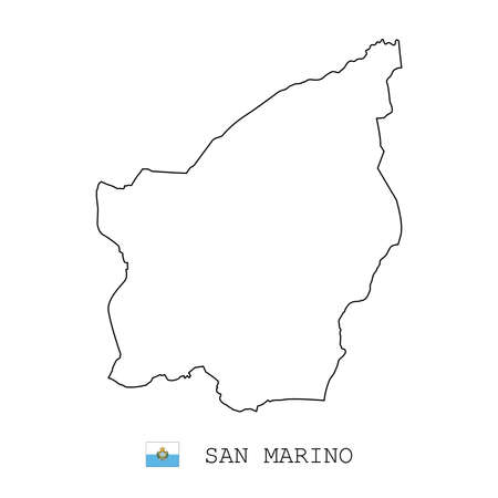 San marino map line, linear thin vector simple outline e and flag. Black on white background