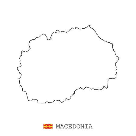 Macedonia map line, linear thin vector simple outline e and flag. Black on white background Illustration