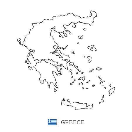 Greece map line, linear thin vector simple outline e and flag. Black on white background