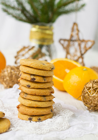 shortbread cookies with butterscotch and chocolate photo
