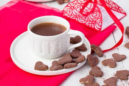 hot cocoa: Hot cocoa and cookies hearts Stock Photo