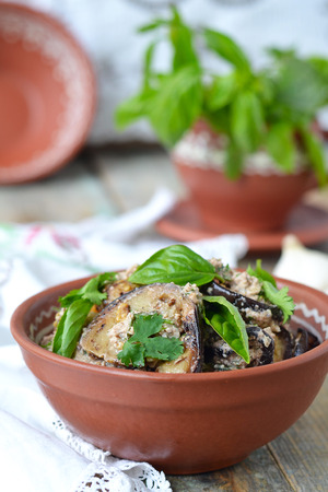 georgian: Satsivi - eggplants in peanut sauce. Traditional georgian cuisine.