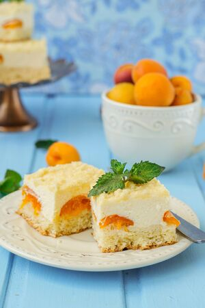 Cake cheesecake with apricots, summer dessert Archivio Fotografico