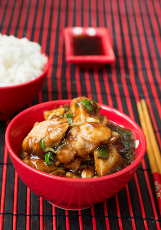 hoisin sauce: Chicken Kung Pao - traditional Chinese dishes Stock Photo