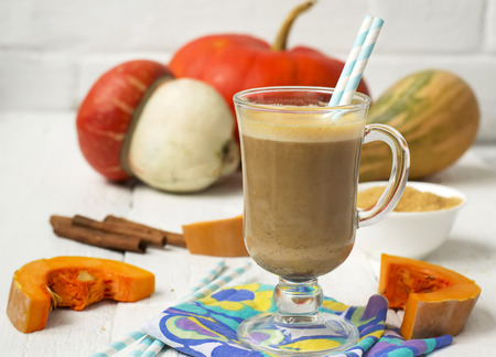 Pumpkin latte - coffee with pumpkin cream and hot drinks.