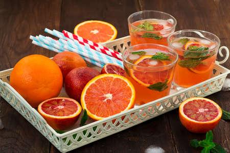 refreshing: lemonade with red oranges, refreshing drink
