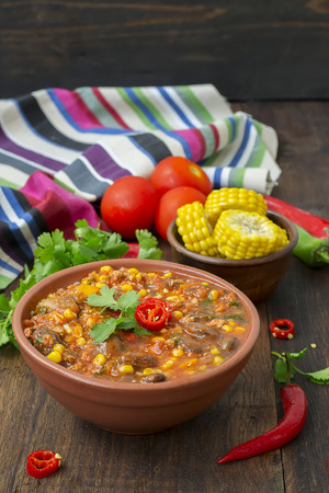 homestyle: Chili con carne. Traditional Mexican dish