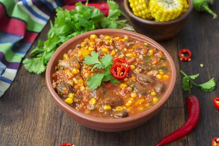 Chili con carne. Traditional Mexican dish