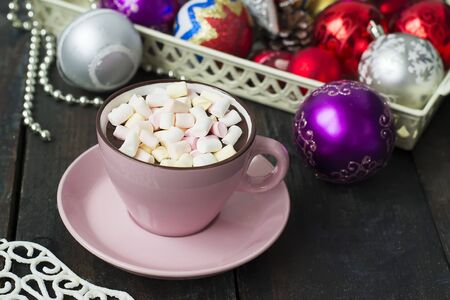 hot chocolate with marshmellou,on dark background, Christmas composition