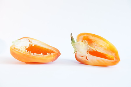 yellow peppers on a white background is insulated. Vegetables on white. Stock Photo