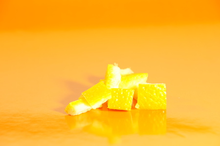 Orange peel insulated against the bright background