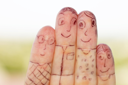 memes: Family of fingers. Fingers of the hand in the form of a family of people.