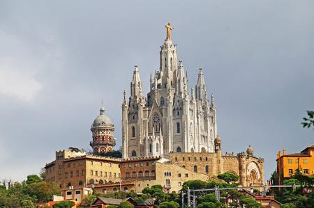 sagrat cor: Church of the Holy Heart on Mount Tibidabo in the outskirts of Barcelona. Stock Photo