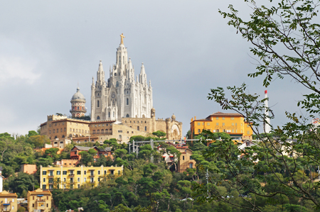 Church of the Holy Heart on Mount Tibidabo in the outskirts of Barcelona. Stock Photo