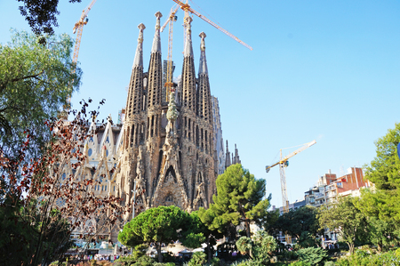 Solar Barcelona. Cathedral of the Holy Family on a sunny day. Gaudi Park in the center of Barcelona.
