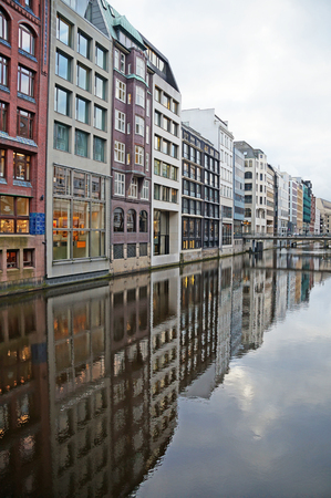 The canals of Hamburg on the Elbe River. Beautiful river channels in the old city of Hamburg. Winter Hamburg. Stock Photo