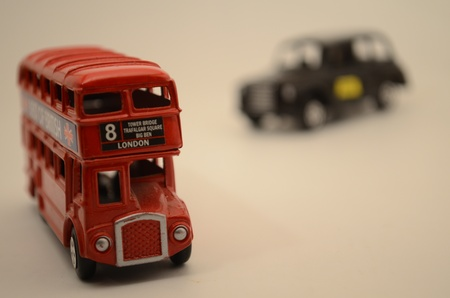 compilation: Red London bus in compilation with british cap