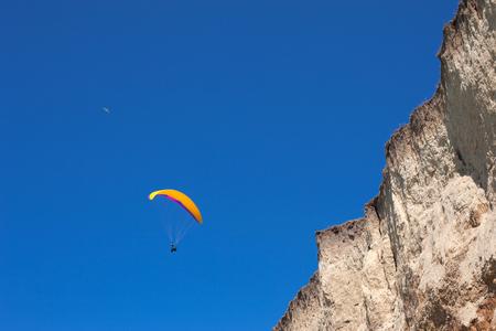 kiting: Air Sport kiting in Crimea coast Stock Photo