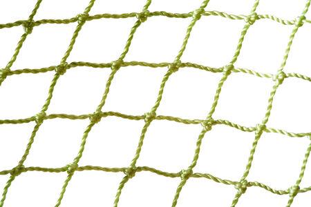 green fishing net closeup over white
