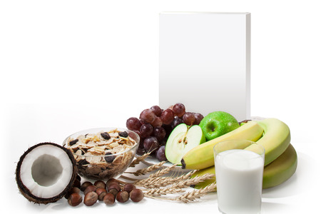 cereal box: A blank cereal box with a fruit environment. It is three-dimensional white box on a white background. This can be easily customized with your own design.