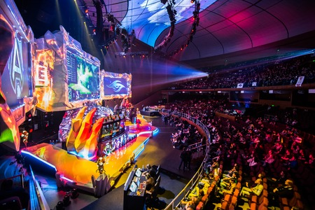 epicenter: MOSCOW, RUSSIA - MAY 13 2016: EPICENTER MOSCOW Dota 2 cybersport event. Main scene and auditorium