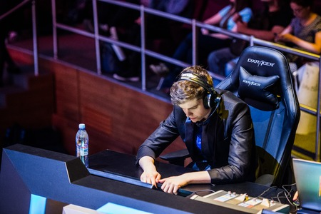 twitch: MOSCOW, RUSSIA - MAY 13 2016: EPICENTER MOSCOW Dota 2 cybersport event. English casters place. ODPixel Blitz