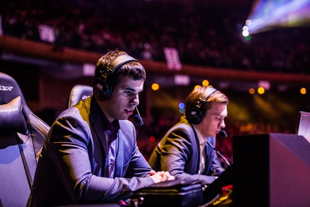 epicenter: MOSCOW, RUSSIA - MAY 13 2016: EPICENTER MOSCOW Dota 2 cybersport event. English casters place. VeRsuTa and Maelshtorm Editorial