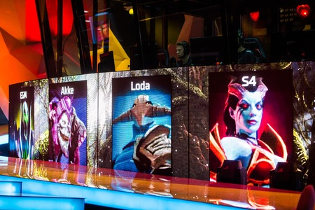 epicenter: MOSCOW, RUSSIA - MAY 13 2016: EPICENTER MOSCOW Dota 2 cybersport event. Game picks of heroes on the screen. Team Alliance.