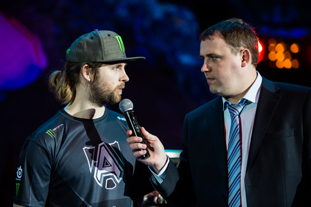 epicenter: MOSCOW, RUSSIA - MAY 13 2016: EPICENTER MOSCOW Dota 2 cybersport event. Jonathan Loda Berg from the Alliance and Vitalii v1lat Volochai on the stage Editorial
