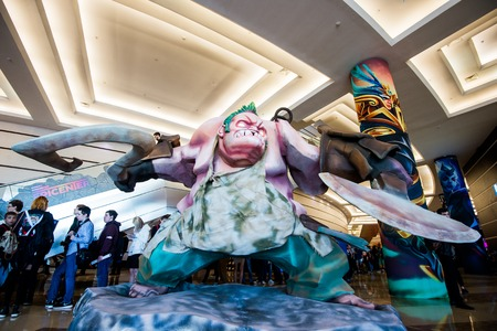 epicenter: MOSCOW, RUSSIA - MAY 13 2016: EPICENTER MOSCOW Dota 2 cybersport event. Big Pudge hero statue Editorial