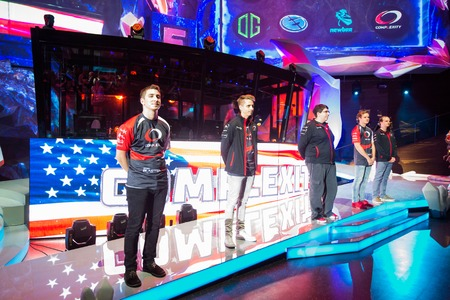 epicenter: MOSCOW, RUSSIA - MAY 14 2016: EPICENTER MOSCOW Dota 2 cybersport event. Team Complexity on the stage.