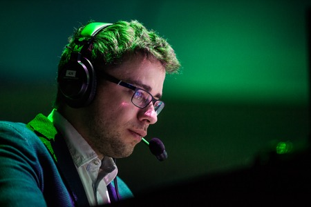 epicenter: MOSCOW, RUSSIA - MAY 14 2016: EPICENTER MOSCOW Dota 2 cybersport event. Caster and commentator Dmitry LightOfHeaven Kuprianov.