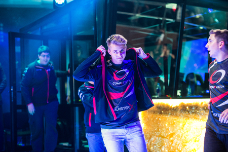 epicenter: EPICENTER MOSCOW Dota 2 cybersport event may 13. Player of complexity team on the stage