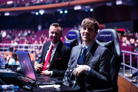 casters: MOSCOW, RUSSIA - MAY 14 2016: EPICENTER MOSCOW Dota 2 cybersport event. English casters place. Capitalist and Purge