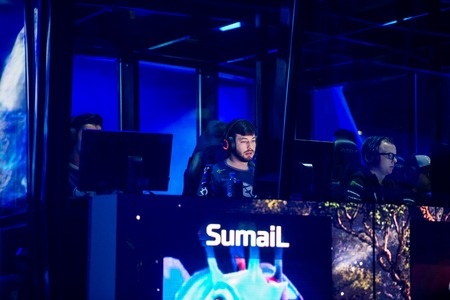 commentator: MOSCOW, RUSSIA - MAY 14 2016: EPICENTER MOSCOW Dota 2 cybersport event. Evil geniuses mid lane player Sumail Hassan in the cabin on the stage. Editorial