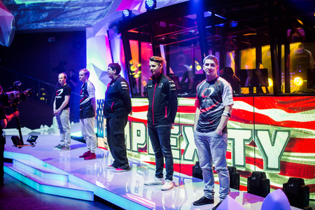 epicenter: EPICENTER MOSCOW Dota 2 cybersport event may 13. Team Complexity on the stage. Editorial