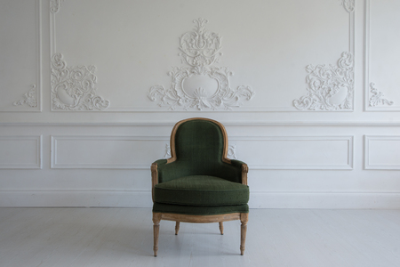 A Vintage chair in the antique room interior
