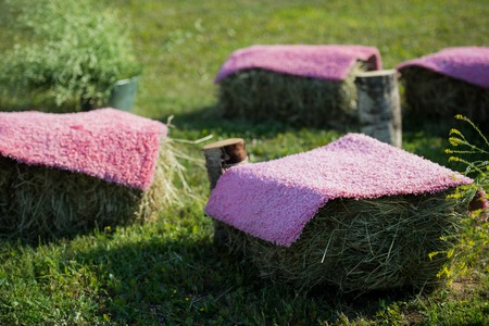 Seats made of straw hay and pallet wood covered with violet carpet.