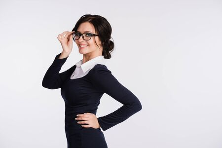 woman wearing glasses: Portrait of beautiful business woman wearing glasses.