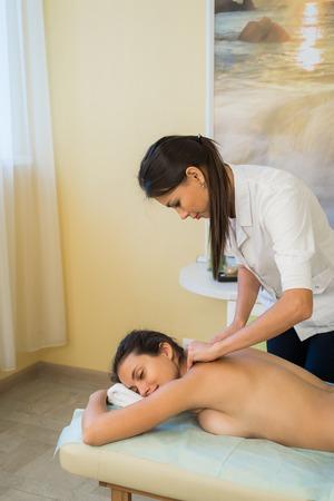 masseuse: Portrait Of Female Masseuse At Health Spa. Stock Photo