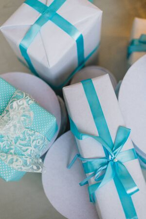 toygift: Christmas gifts under the Christmas tree in blue