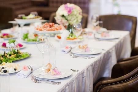 The elegant dinner table decoration at restaurant.