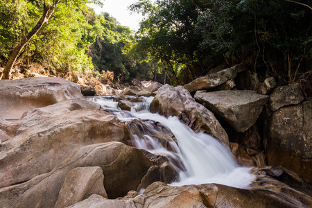 Milky waterfall photo made with long exposure in Nha Trang in Vietnam.