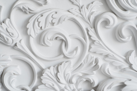 bas relief: Luxury white wall design bas-relief with stucco mouldings roccoco element
