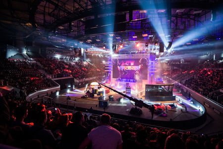 SAINT PETERSBURG, RUSSIA - OCTOBER 28 2017: EPICENTER Counter Strike: Global Offensive cyber sport event. Main venue and the screen with events logo Editorial